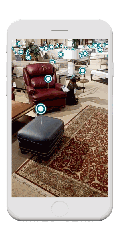 Showroom virtual tour on mobile device