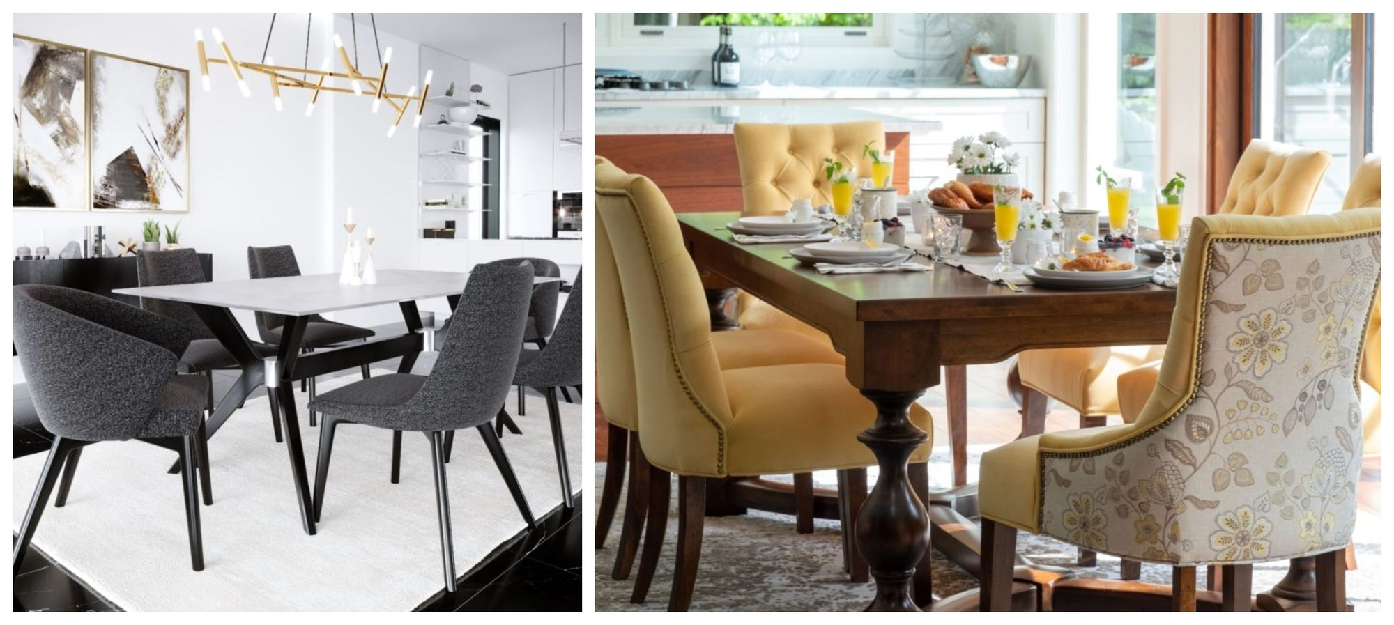<img src=&quot;dining sets&quot; alt=&quot;left image is a gray dining set while the right image is that of a yellow-hued dining set&quot;>