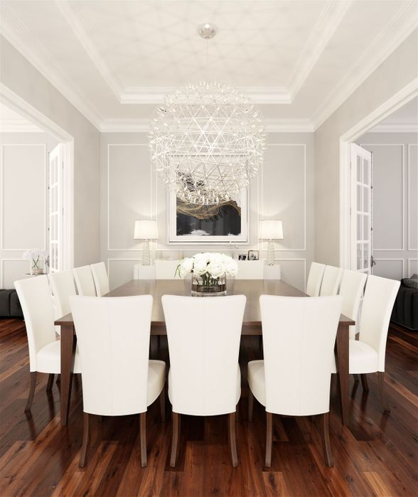 <img src=&quot;dining room&quot; alt=&quot;dining room with wooden floorboards, white walls, white ceilings, wooden dining table, and white, upholstered chairs&quot;>