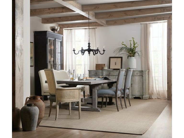<img src=&quot;dining room&quot; alt=&quot;neutral colored dining room with dining set, exposed wood beams, and other design elements&quot;>