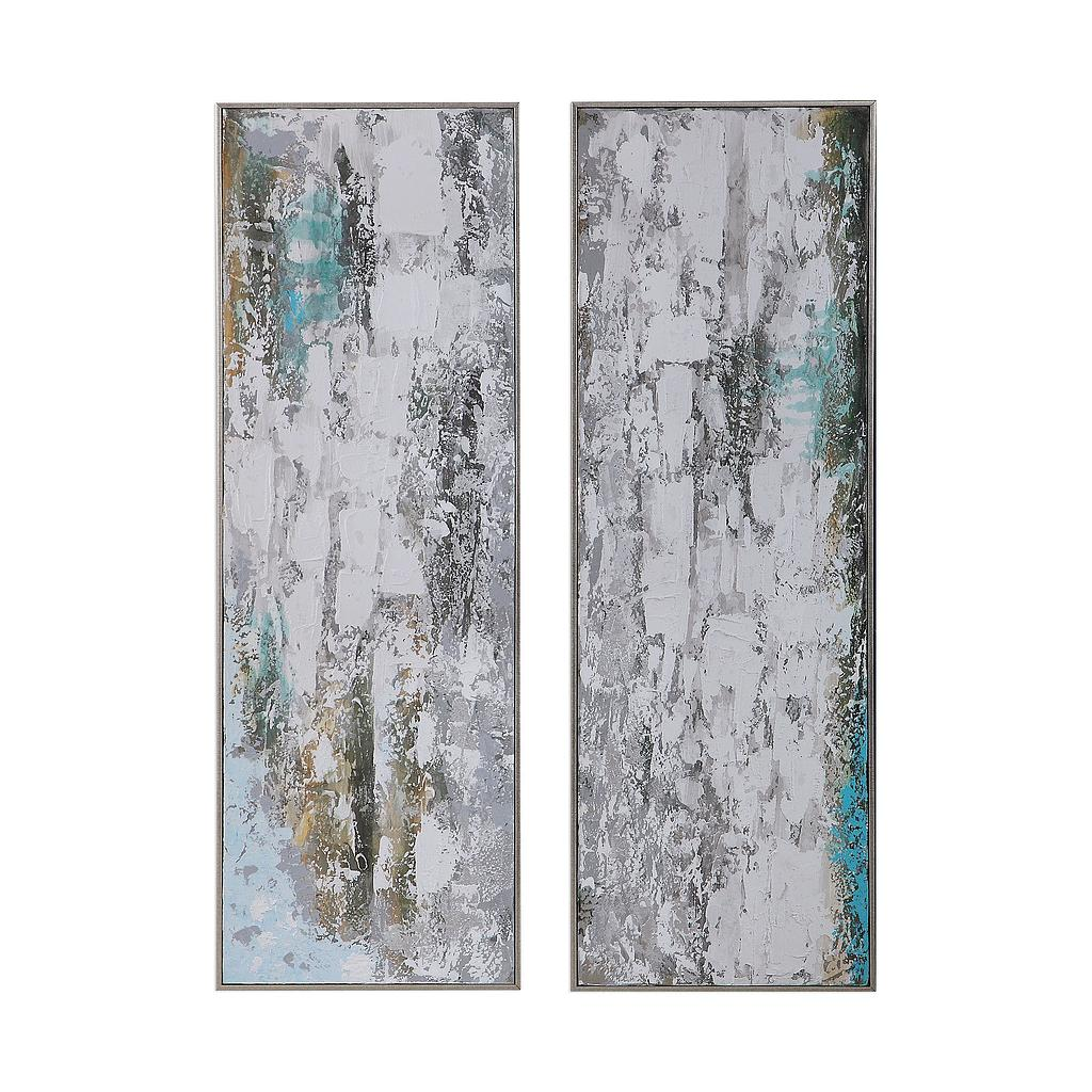 Aged Fences Hand Painted Canvases, S/2